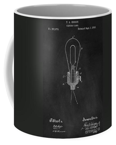 Thomas Coffee Mug featuring the photograph Edison Light Bulb Patent Art Chalkboard by Edward Fielding