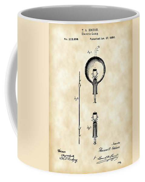 Light Coffee Mug featuring the digital art Edison Light Bulb Patent 1880 - Vintage by Stephen Younts