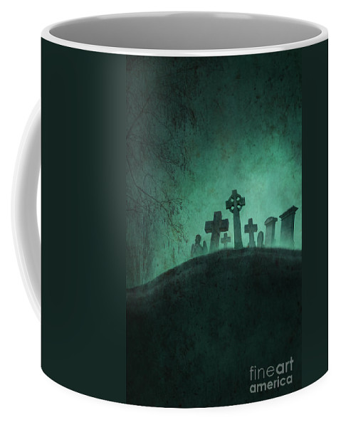 Grave Coffee Mug featuring the photograph Eerie Graveyard At Night In Fog by Lee Avison