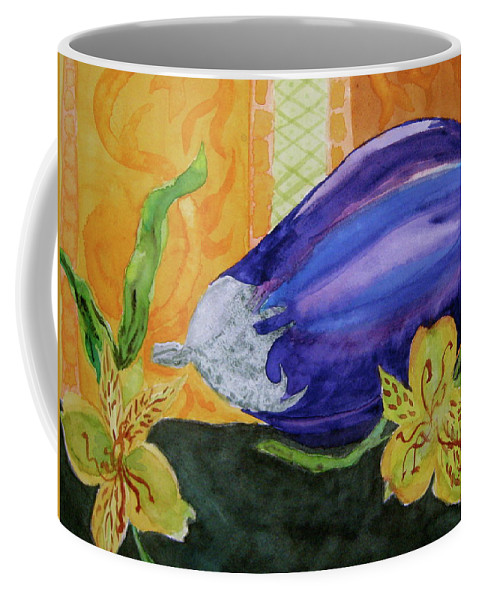 Eggplant Coffee Mug featuring the painting Eggplant And Alstroemeria by Beverley Harper Tinsley