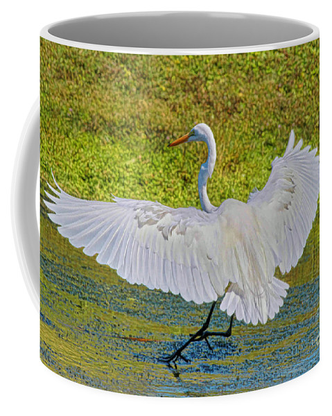 Egret Coffee Mug featuring the photograph Egret Full Wing Span by Deborah Benoit