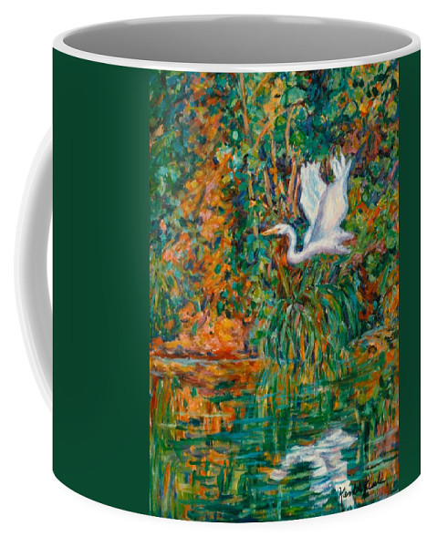 Egret Coffee Mug featuring the painting Egret Reflections by Kendall Kessler