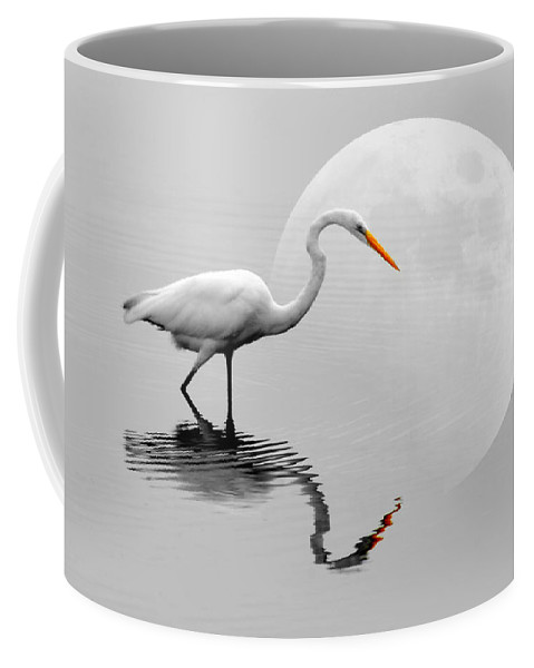 Bird Coffee Mug featuring the photograph Egret With Moon by Diana Angstadt