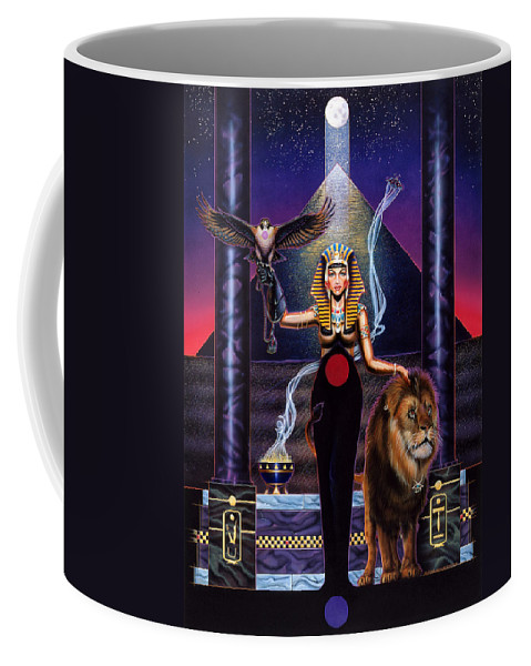 Egypt Coffee Mug featuring the painting Egyptian Queen by Timothy Scoggins