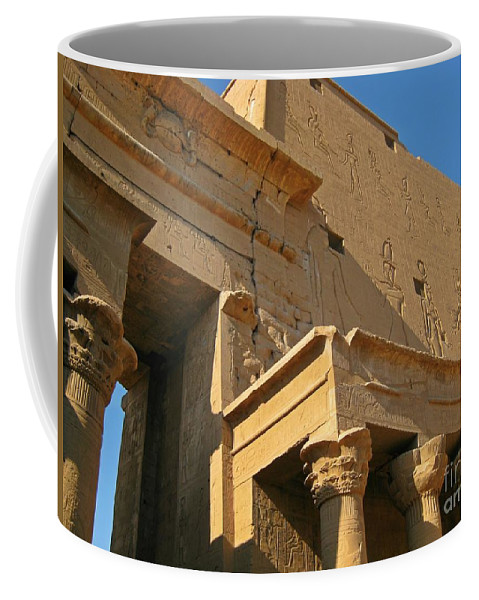 Egyptian Temples Art Coffee Mug featuring the photograph Egyptian Temple Architectural Detail by John Malone