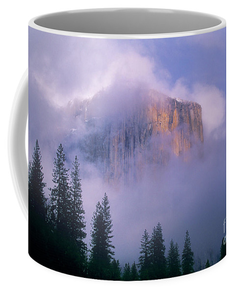 North America Coffee Mug featuring the photograph El Capitan In Fog Yosemite National Park California by Dave Welling