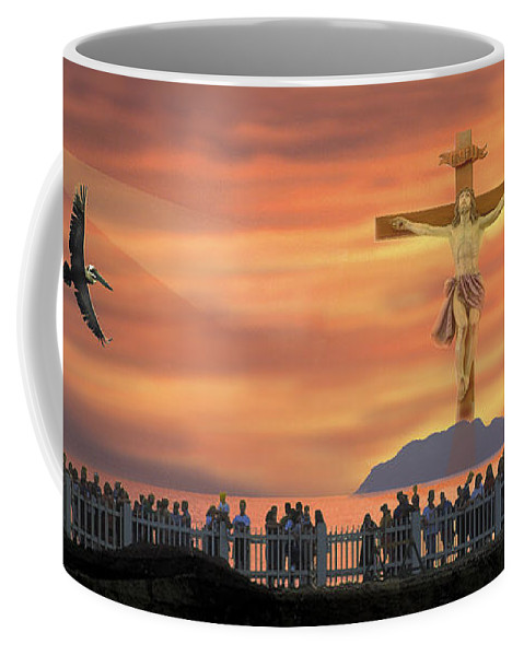 Sunset Coffee Mug featuring the photograph El Faro Christ Sunset Photo Illustration by Ed Hoppe