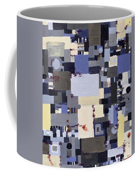 Grid Coffee Mug featuring the painting Elastic Dialog by Regina Valluzzi