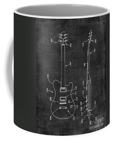 Electric Coffee Mug featuring the digital art Electric Guitar Patent 039 by Voros Edit