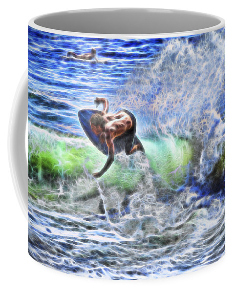 Cutting Waves Coffee Mug featuring the photograph Electric Splash by Kelley King