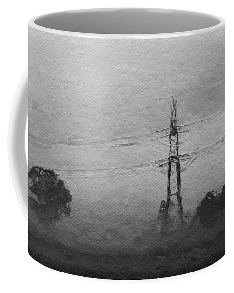 Power Electric Nature Landscape Tree Bw Grey Expressionism Coffee Mug featuring the painting Electric by Steve K