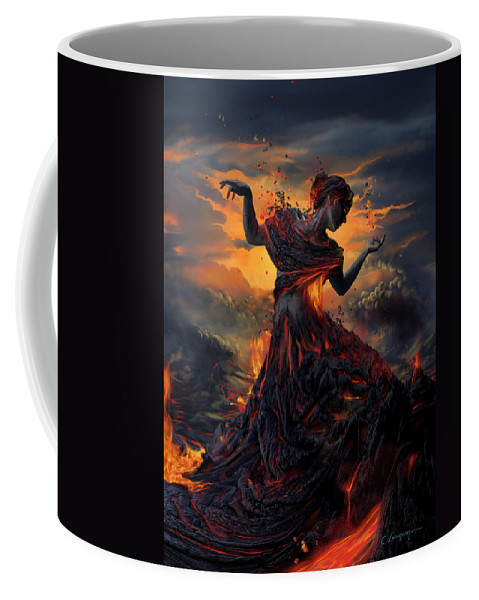 Fire Coffee Mug featuring the digital art Elements - Fire by Cassiopeia Art