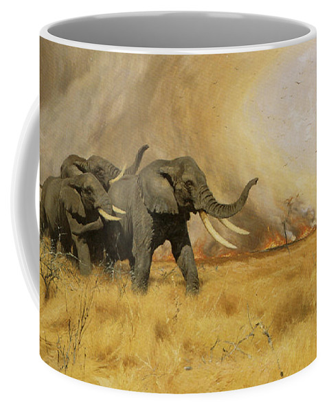 Friedrich Wilhelm Kuhnert Coffee Mug featuring the digital art Elephants Moving Before A Fire by Friedrich Wilhelm Kuhnert