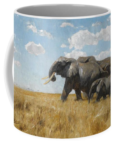 Friedrich Wilhelm Kuhnert Coffee Mug featuring the digital art Elephants On The Move by Friedrich Wilhelm Kuhnert
