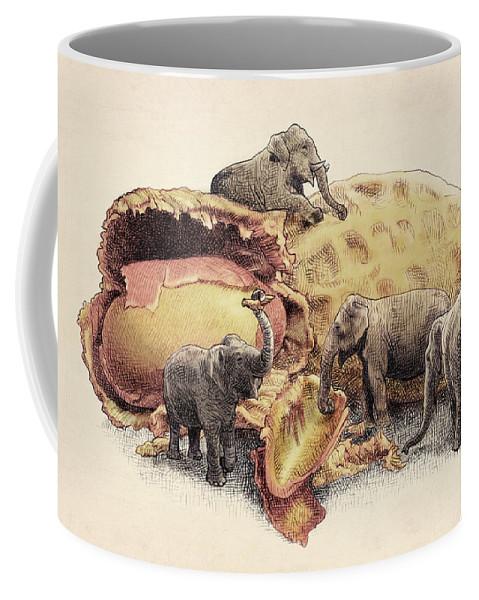 Elephants Coffee Mug featuring the drawing Elephant's Paradise by Eric Fan