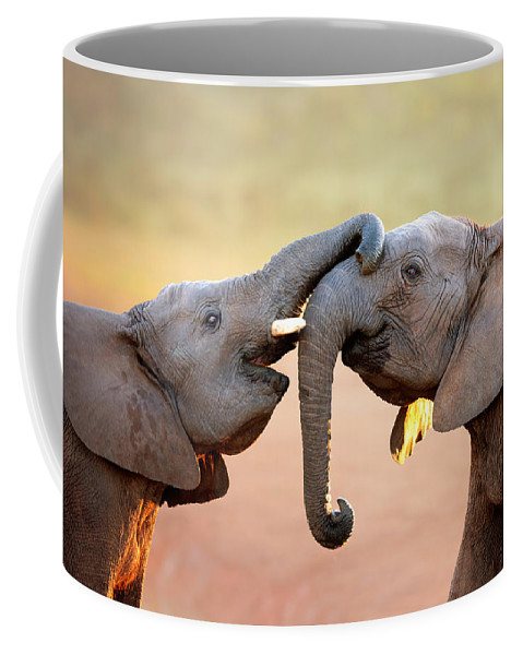 Elephant Coffee Mug featuring the photograph Elephants Touching Each Other by Johan Swanepoel