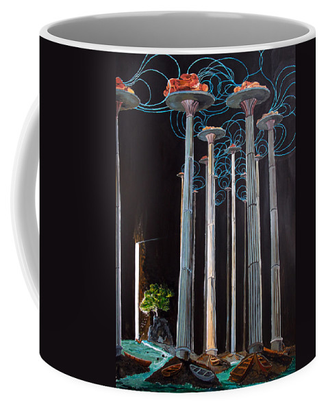 Surreal Coffee Mug featuring the painting Elevated Thoughts by Lazaro Hurtado