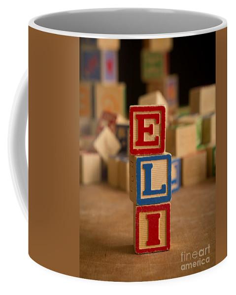 Alphabet Coffee Mug featuring the photograph Eli - Alphabet Blocks by Edward Fielding
