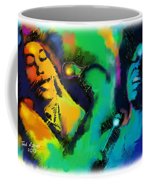 Jazz Art Paintings Coffee Mug featuring the painting Ella And Sara by Ted Azriel