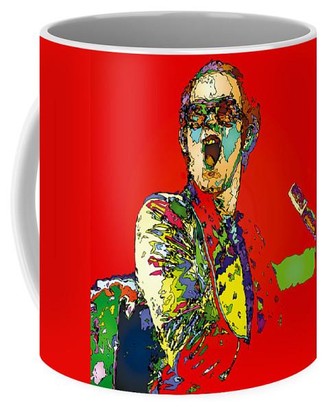 Elton John Coffee Mug featuring the painting Elton in Red by John Farr