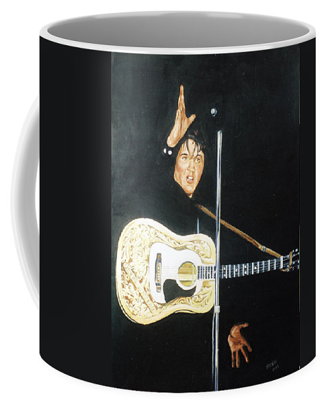 Elvis Presley Coffee Mug featuring the painting Elvis 1956 by Bryan Bustard