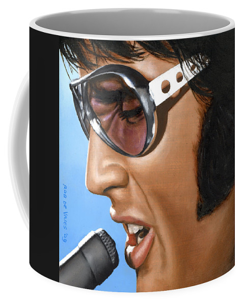 Elvis Coffee Mug featuring the painting Elvis 24 1970 by Rob De Vries