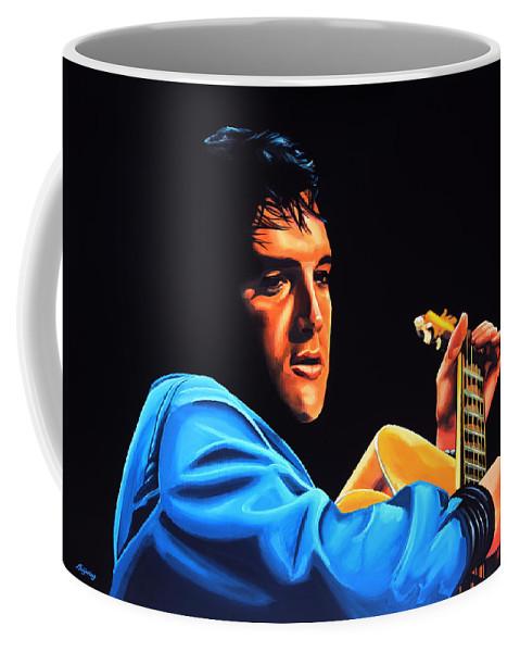 Elvis Coffee Mug featuring the painting Elvis Presley 2 Painting by Paul Meijering