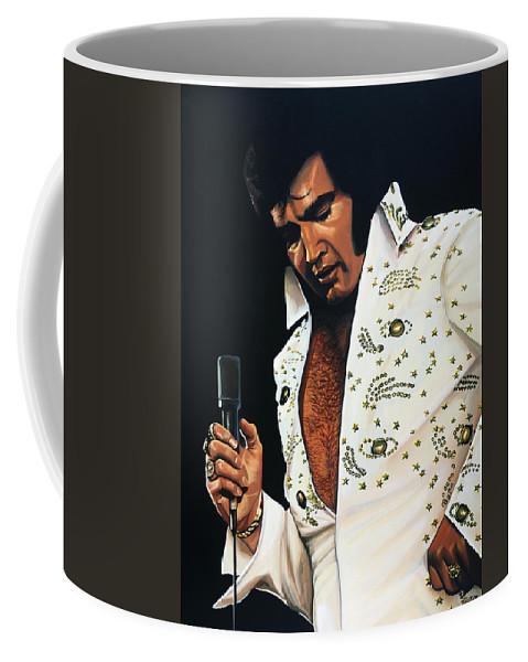 Elvis Coffee Mug featuring the painting Elvis Presley Painting by Paul Meijering
