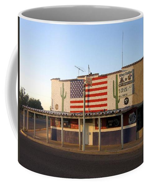 Emblazoned American Flag Silver Dollar Bar Eloy Arizona 2004 Coffee Mug featuring the photograph Emblazoned American Flag Silver Dollar Bar Eloy Arizona 2004 by David Lee Guss
