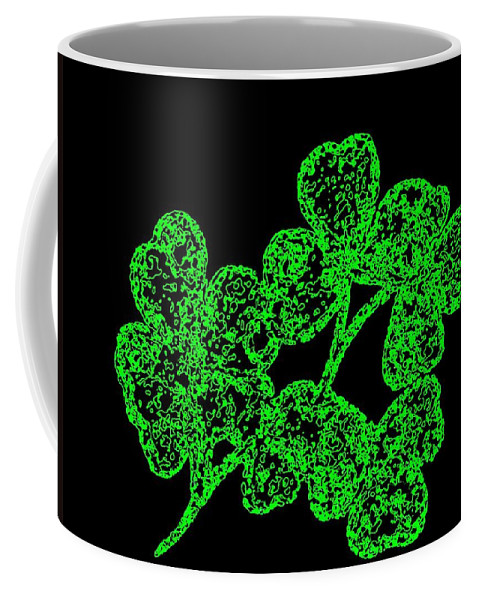 Emerald Isle Shamrocks Coffee Mug featuring the digital art Emerald Isle Shamrocks by Will Borden