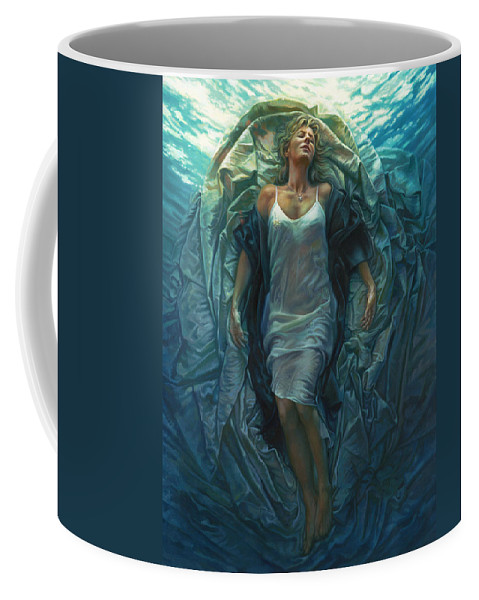 Conceptual Coffee Mug featuring the painting Emerge Painting by Mia Tavonatti
