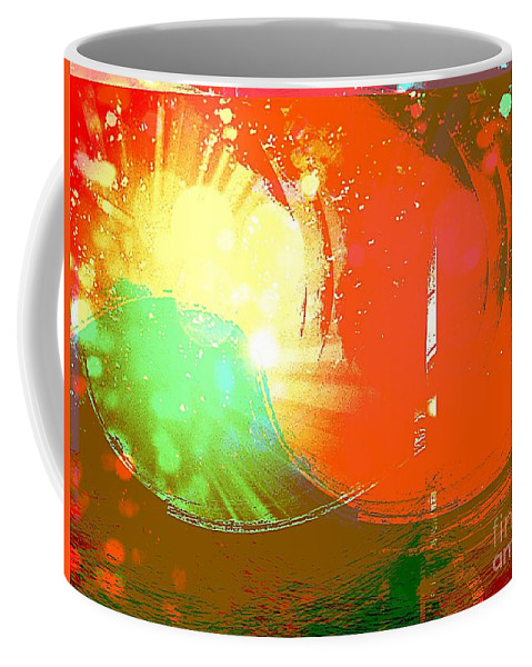 Art Coffee Mug featuring the mixed media Emergent Sun by Michelle Stradford