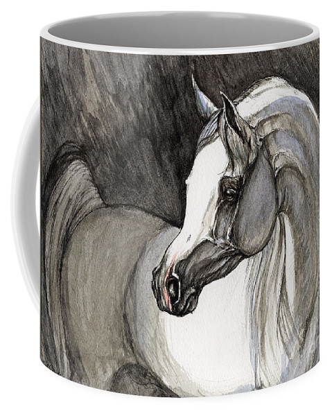 Grey Horse Coffee Mug featuring the painting Emerging From The Darkness by Angel Tarantella