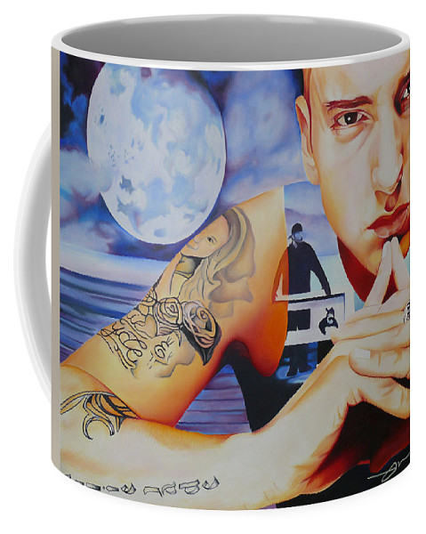 Emminem Coffee Mug featuring the painting Emminem by Joshua Morton