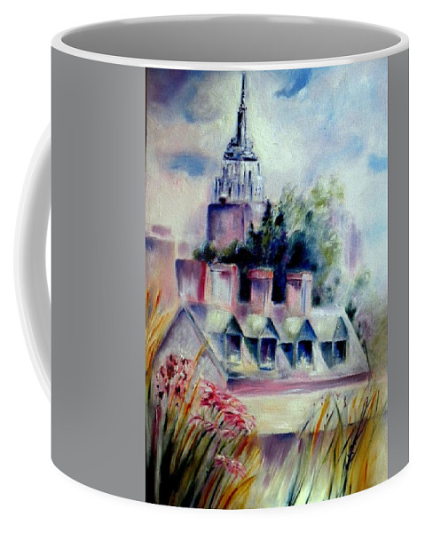 Empire State Building Coffee Mug featuring the painting Empire State From The High Line by Sandy Ryan