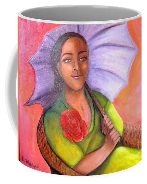 Rose Coffee Mug featuring the painting Enchanted Rose by Laurie Morgan