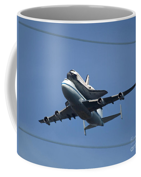 Endeavour Coffee Mug featuring the photograph Endeavour Over Moffett Field by Jacklyn Duryea Fraizer