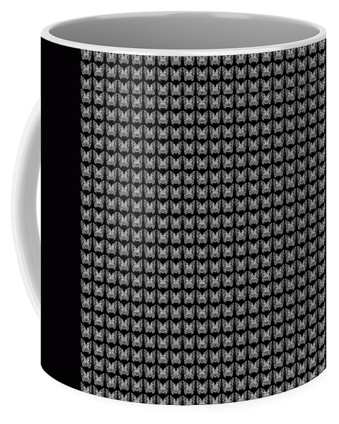 Butterfly Coffee Mug featuring the drawing Endless Butterflies On Black by Helena Tiainen
