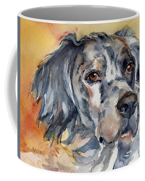 English Setter Coffee Mug featuring the painting English Setter Portrait by Maria's Watercolor