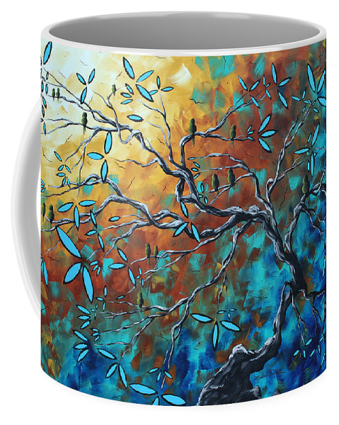 Art Coffee Mug featuring the painting Enormous Abstract Bird Art Original Painting Where The Heart Is By Madart by Megan Duncanson