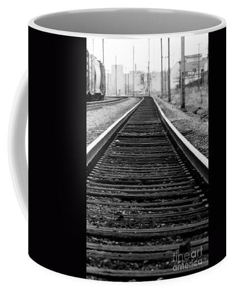 Tracks Coffee Mug featuring the photograph Entering The Train Yard. Washington Dc by Thomas Marchessault