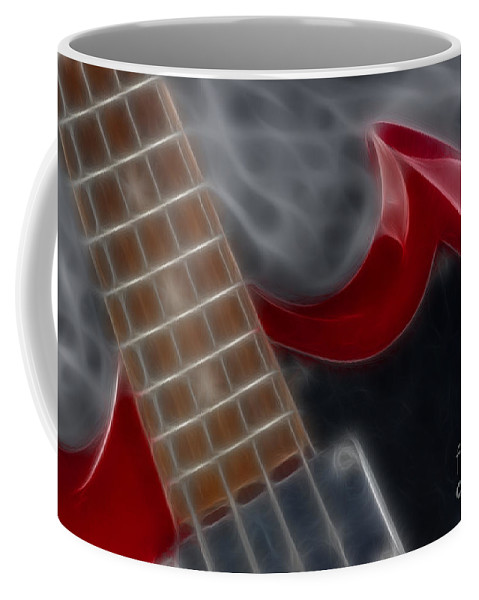 Guitar Coffee Mug featuring the photograph Epiphone Sg Bass-9205-fractal by Gary Gingrich Galleries