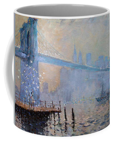 Seagulls Coffee Mug featuring the painting Erbora And The Seagulls by Ylli Haruni