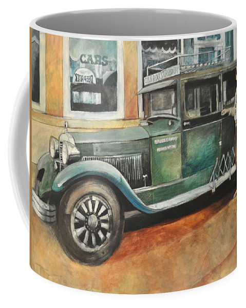 Bus Coffee Mug featuring the painting Ernests First Bus by Tim Nyberg