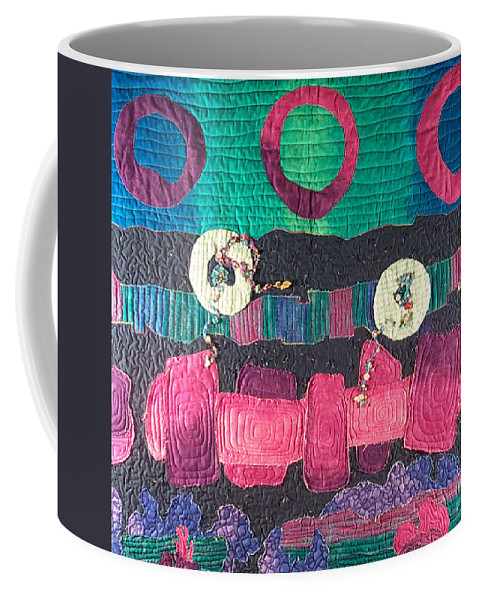 Wallhanging Coffee Mug featuring the tapestry - textile Essential Circles by MtnWoman Silver