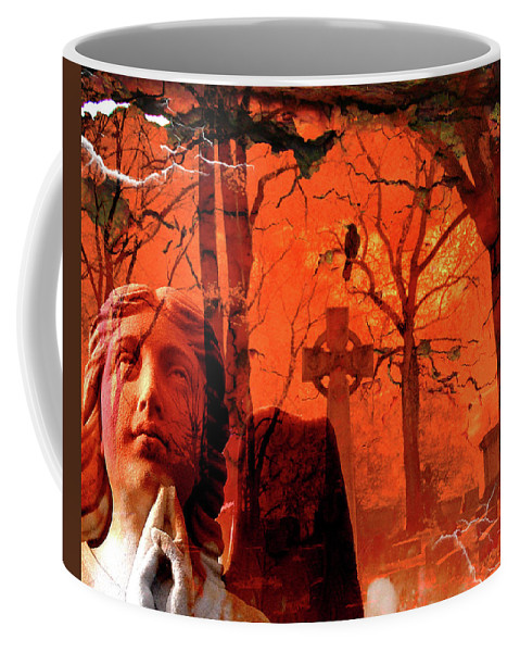 Red Coffee Mug featuring the digital art Ethereal Red by Gothicrow Images