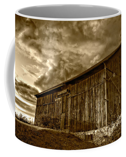 Rural Coffee Mug featuring the photograph Evening Barn Sepia by Steve Harrington