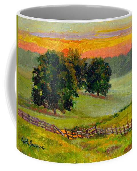 Impressionism Coffee Mug featuring the painting Evening Pastures by Keith Burgess