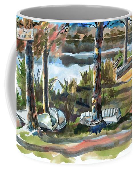 Evening Shadows At Shepherd Mountain Lake No W101 Coffee Mug featuring the painting Evening Shadows At Shepherd Mountain Lake No W101 by Kip DeVore