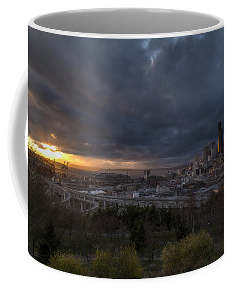 Seattle Coffee Mug featuring the photograph Evening Skies Light by Mike Reid